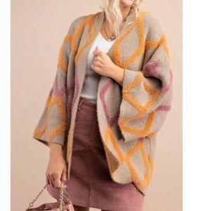 NWT Kori Soft Plush Coatigan in argyle pattern